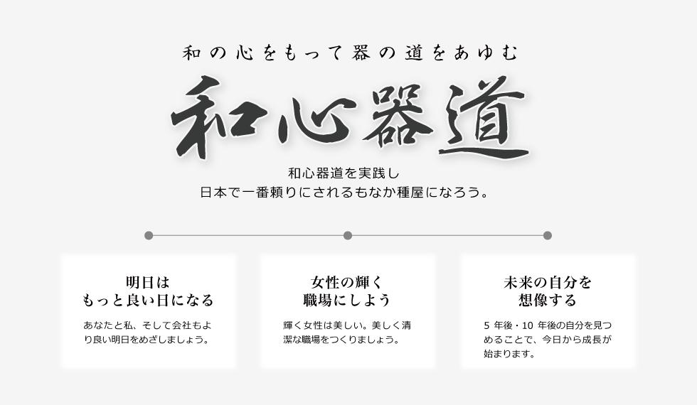 和の心もって器の道をあゆむ 和心器道を実践し日本で一番頼りにされるもなか種屋になろう。